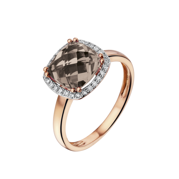 Pas Diamonds rosegouden ring met rookkwarts en diamanten