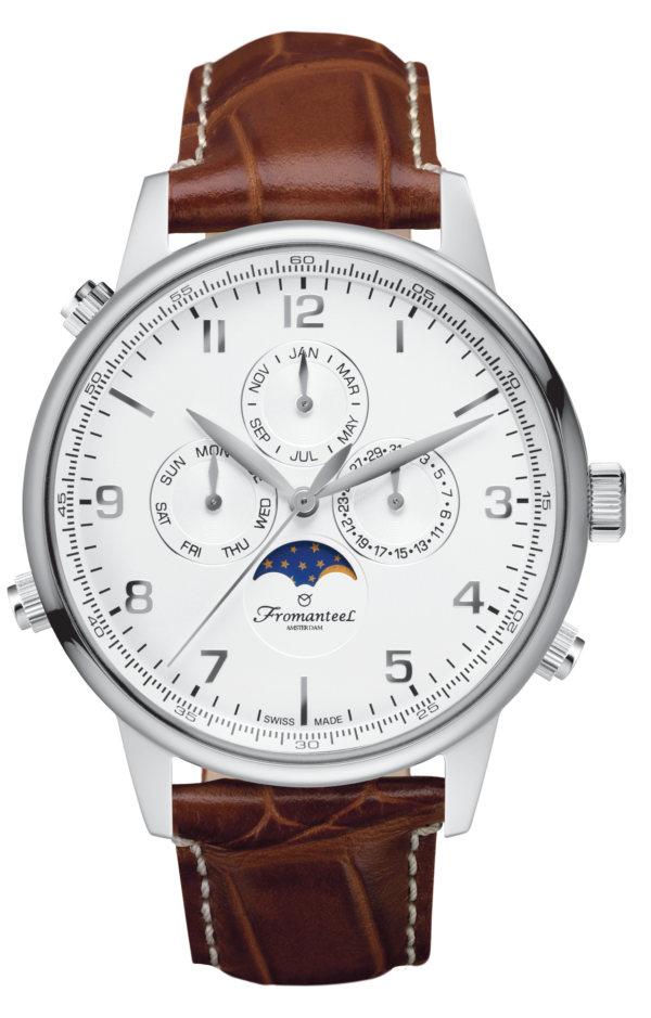 Fromanteel horloge GT-0531-s003 Globetrotter Moon Phase White